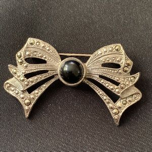 """Jewelry - Art Deco Style Marcasite Bow Brooch Pin 2"""" x 1"""""""